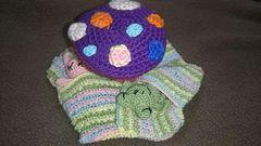 手編みのあみぐるみ、お昼寝キノコ、クマ、ウサギ、カエル