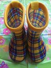 【使用品】ボブソン☆ギンガムチェック☆黄色☆子供☆長靴☆14cm