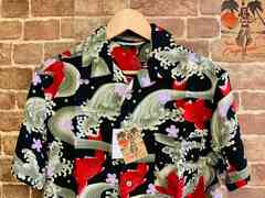 表記S/新品!レーヨン100% アロハシャツ 和柄 サーフ サーファー ヒッピー ビンテージスタイル
