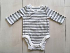 新品ベビーギャップGAPボディロンパース新生児肌着男女ボーダー白グレーホワイト
