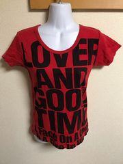 ★赤&黒 ロゴ入Tシャツ  L★
