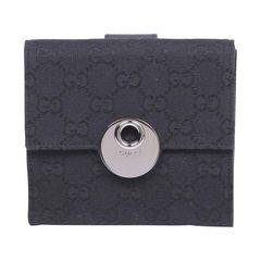 グッチ 120932 GGキャンバス Wホック財布 ブラック【送料無料】