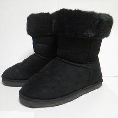 ムートンタッチ★ブーツ★中古品-L 黒★防滑 雪道対応 冬のファッションの定番