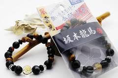坂本龍馬★偉人ブレスレット「水晶家紋」