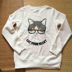 定形外込。nekotsubo・メガネ猫キャラクター裏起毛トレーナー白