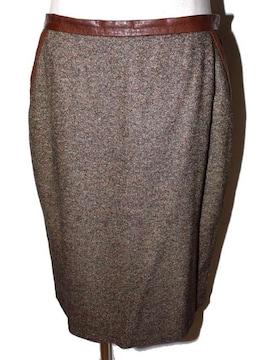 Salvatore Ferragamo フェラガモ ツイードスカート ブラウン