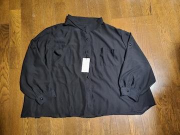 送料無料/大きいサイズ3Lタグ付きボタンダウンイレギュラー裾透け素材ブラウス