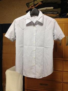 無印良品  半袖シャツ Sサイズ 白色×紺色 ギンガムチェック柄 古着 ユーズド