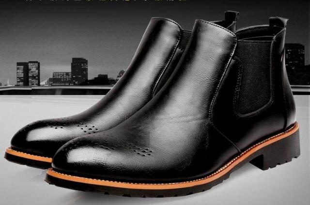 3色 上品質 メンショートブーツ サイドジップ 23.5cm~27cm/AK450 < 男性ファッションの