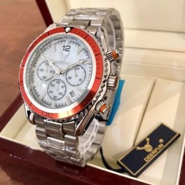 最安値!全針稼動のクロノグラフ・メンズ腕時計♪オレンジ枠シェル×シルバー