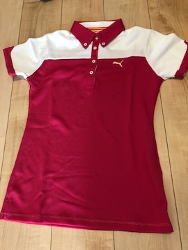 プーマゴルフポロシャツ 白×ピンク