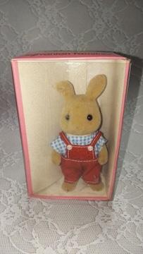 レア初期シルバニアファミリーウサギのお父さん(I)アイボリータイプ人形ドール1986年製