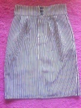 COLZACanCamホワイト×ネイビー ストライプ柄ペンシルタイトスカート未使用