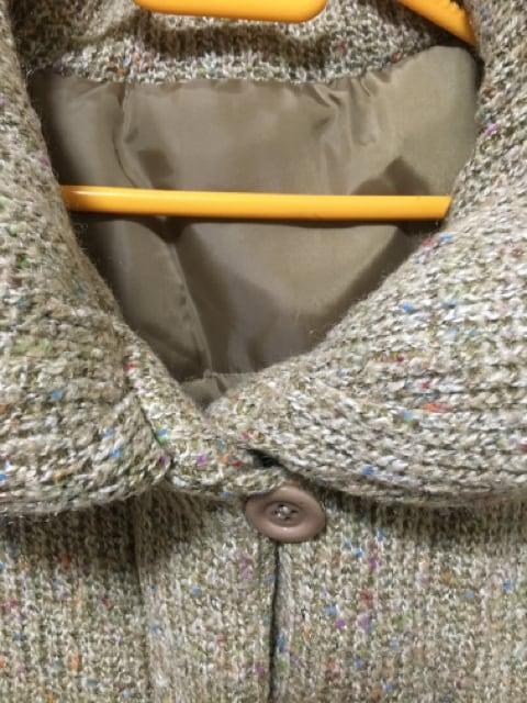 新品4Lボリューム襟ミックスニット中綿入りベスト*ベージュ系 < 女性ファッションの