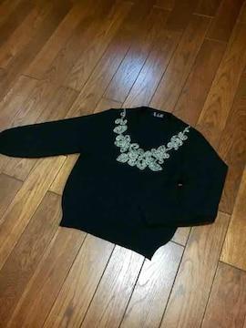 【即決】TOKYO NEW MODE◆上質刺繍入◆上品Blackニット