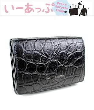 サンローラン ミニ財布 三つ折り財布 ブラック 美品 k93