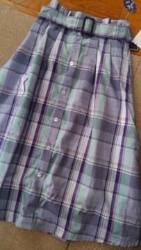 Mサイズ!清楚な感じ!爽やかな色合い!ウエストゴム!ベルトあり!フレアースカート!