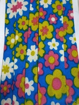 nario*バイアス18♪ブルー地にレトロなお花柄2.5m