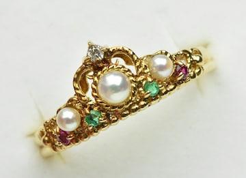 K18 ゴールド パール 真珠 マルチリング 12号 指輪
