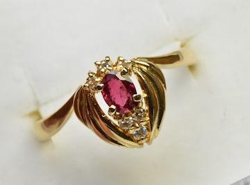 K18 ルビー 0.21ct ダイヤモンドリング 8.5号 指輪