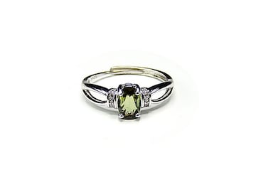 トルマリンリング宝石質天然石925銀指輪緑系16号石街U0202