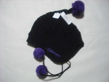 wb38 女 BILLABONG ビラボン 耳当て ボンボン付き ニット帽 黒