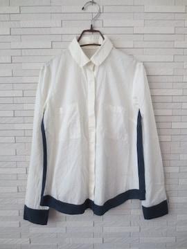 即決/Papillonner/コットンシルク切替比翼長袖シャツ/白×紺/38