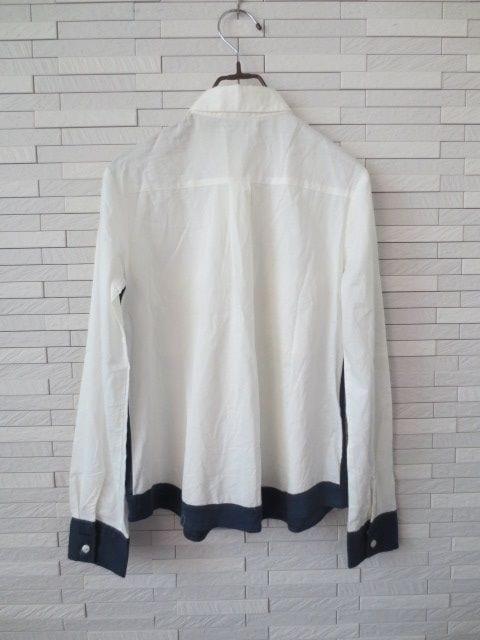 即決/Papillonner/コットンシルク切替比翼長袖シャツ/白×紺/38 < ブランドの
