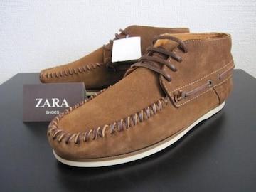 □ZARA/ザラ レザー モカシン シューズ/牛革/メンズ27.5cm☆新品