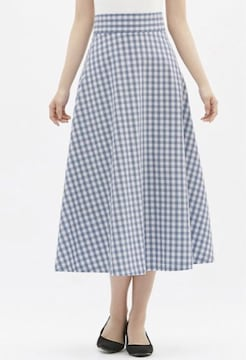 GU・ギンガムチェック柄フレアスカート。ブルーXL