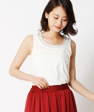 新品☆NICOLE white(ニコルホワイト)ラメレイヤード風タンクトップ☆
