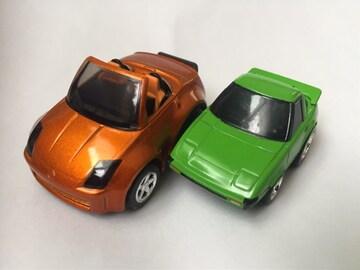 チョロQ・日産フェアレディZ、ちびっこマツダRX-7 緑。