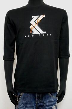新品 カールカナイ201K1109ビックロゴ6分袖Tシャツ黒L