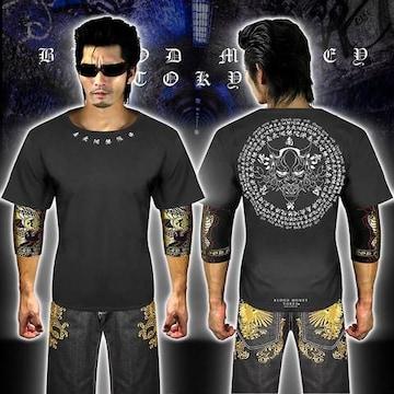送料無料般若柄半袖Tシャツ 派手ヤクザ オラオラ系和柄上下服18002白黒-L