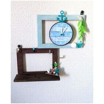 ハンドメイド◆アクセサリー&カギかけ♪フック付き 壁掛け 時計