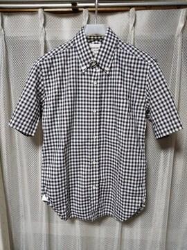 MARKAWARE マーカウエア BD ギンガムチェック 半袖シャツ Sサイズ 1 黒×白 日本製