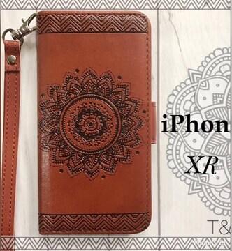 iPhoneXR 手帳型ケース 花柄 エンボス型押し フィルム ブラウン