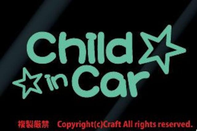 Child in Car+星☆/ステッカー(ミント,チャイルドインカー) < 自動車/バイク