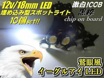 埋め込み黒ボルト型デイライト/イーグルアイCOB-LEDホワイト10個
