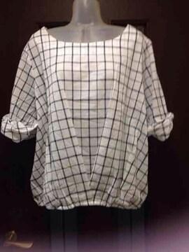 新品3L★しまむら★大きいサイズ/コットンブラウス/リボン袖口