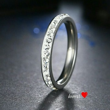 送料無料24号シルバースーパーCZダイヤフルエタニティリング指輪