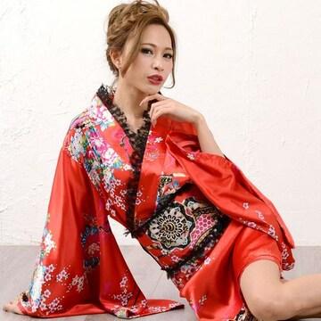 フリルサテン着物 ミニドレス 花魁 和柄 よさこい ダンス キャバ チャムドレス