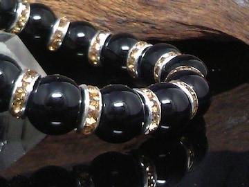 天然ブラックオニキス14ミリ黄ロンデル数珠
