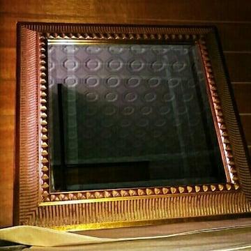 アンティーク ゴールド 壁掛け ミラー 鏡 ヴィンテージ 金色