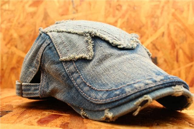 送料無料 デニム ダメージ加工ハンチング・帽子 JMH7-5 < 男性ファッションの