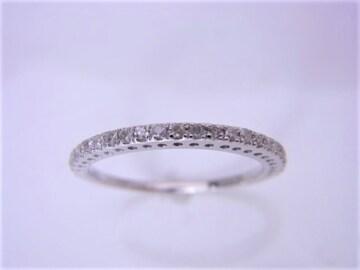 送料込 K18WG 0.15ct ダイヤモンド ハーフエタニティ リング 11号 仕上済★dot