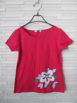 即決/G/花柄刺繍ストレッチ半袖Tシャツ/ピンク/M