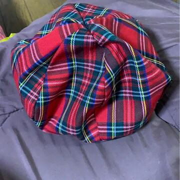キッズ★赤チェック★ベレー帽★54センチ