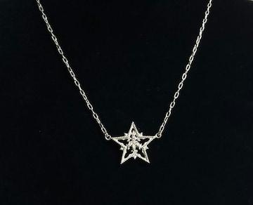 正規美 2003年限定 love&hateラブ&ヘイト ストーン装飾スターネックレス SV925 星