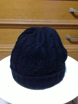 シンプル無地 ニット帽子 ニットキャップ S〜Mサイズ小さめ 黒色 ストレッチ ロック